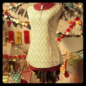 Ooh La La Heringbone Flounce Shirt (XL)